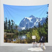 Wall Tapestry - 'Mount Shuksan between the Trees' - Home Decor - Wall Decor, Modern, Home Warming Gift, Symmetry, Bohemian, Boho, Floral