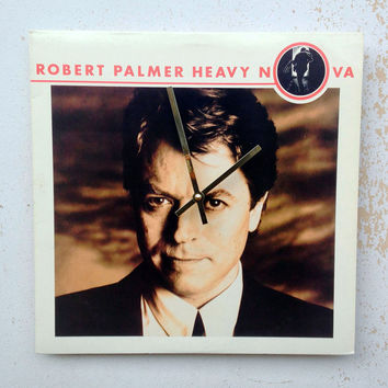 Clock, Record Clock, Record Cover Art Clock, Wall Clock, Robert Palmer Record Cover, Recycled, Upcycled Gift Item #52