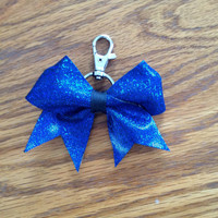 Blue Mystic Cheer Bow Keychain