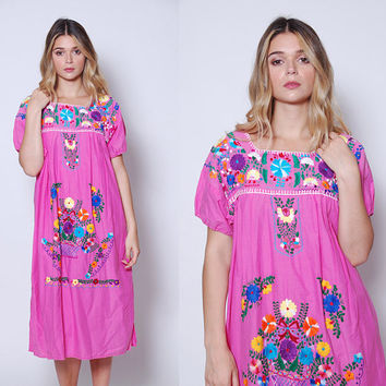 Vintage MEXICAN Dress Pink EMBROIDERED Ethnic Hippie Dress Boho Festival Dress Tent Dress