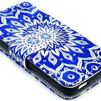 iPhone 5C Case, Nccypo Premium PU Leather Magnet Wallet Slim Protective iPhone 5C Shell Cover For Apple iPhone 5C[Card Pattern Deep Blue Skin] with Stylus, Screen Protector and Cleaning Cloth