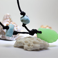 Unisex Larimar Blue Beads and Green Seaglass Pendant Necklace sea beach glass surfer choker natural eco-friendly bohemian bead men women