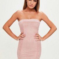 Missguided - Pink Faux Suede Bandeau Bodycon Dress