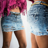 denim skirt/ jean skirt/ ripped jeans/ destroyed denim/ cut off shorts/ festival clothing/ acid wash shredded jeans/ distressed jeans/
