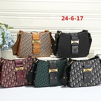 """Dior"" Fashion Letter Embossed Cool All-match Messenger Bag Women Sport Solid Color Saddle Bag Small Square Bag"