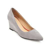 Pointed Toe Faux Suede Wedge Heels Shoes MF4740