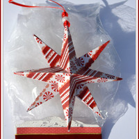 Christmas Star, 1 Pre-Packaged Star, Gift Wrapped Star, Christmas, Peppermint Origami Decoration - XMas Ornament, Origami Star, Gift For Her