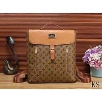 Louis Vuitton LV New Trending Stylish Leather Backpack Satchel Double Shoulder Bag Brown