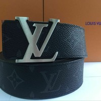 Louis Vuitton Monogram Belt Black Grey With Box Size 110 CM