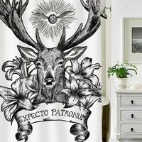 Expecto Patronum Deathly Hallows Harry Potter special custom shower curtains that will make your bathroom adorable