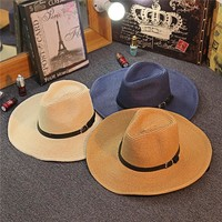 Sunny summer big head circumference men can fold cowboy hat outdoor shade hat beach hat big eaves out of the straw hat
