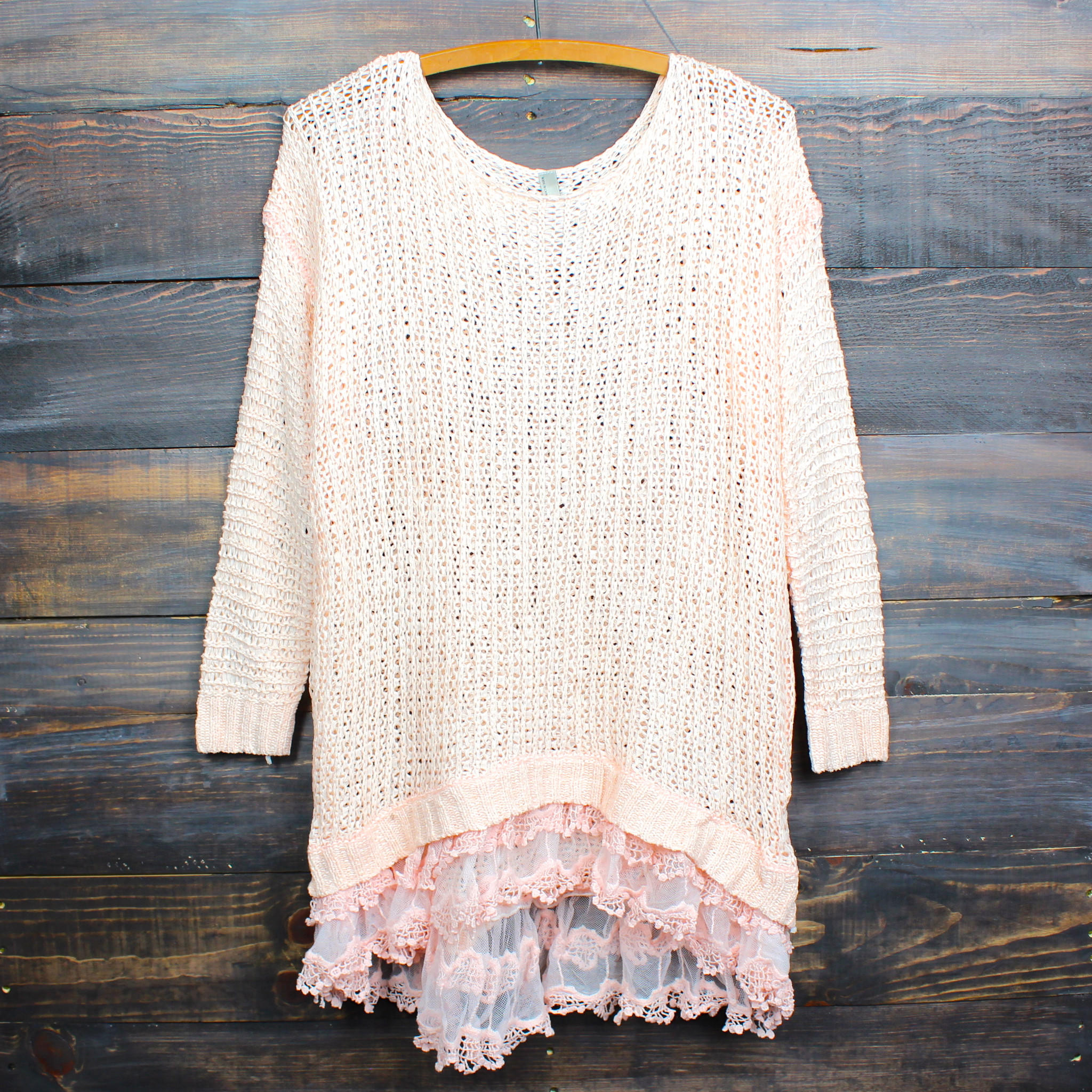 Image of all eyes on me lace trim sweater tunic - peach