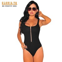 Front-Zip Spandex Backless Sexy Bodysuit Women Sleeveless Off Shoulder Summer Romper Women Sexy Jumpsuit With Shorts