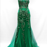 KC131568 Cap Sleeve Emerald Evening Gown by Kari Chang Couture