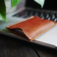 Free Engraving , Mens Leather Card Case , Custom Card Case Wallet , Slim Card Case , Hand Craft Card Case , Personalized Card Case , Gift
