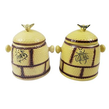 Vintage House Of Webster Bee Hive Canister Set Ceramic Yellow Cookie Jar