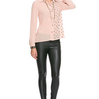 Foreign Exchange :: WOMEN :: TOPS :: SHIRTS & BLOUSES :: PEACH STUDDED SKULL LONG SLEEVE BLOUSE