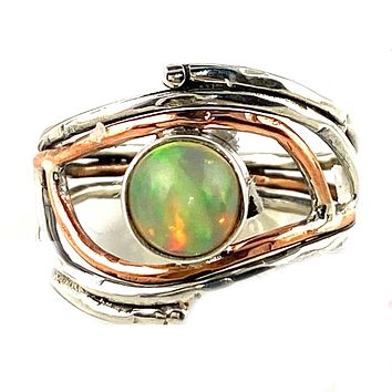 Ethiopian Opal Sterling Silver Two Tone Ring