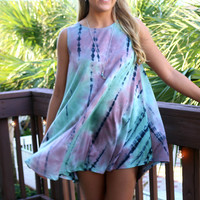 Island Breeze Teal Tie Dye Tank Dress