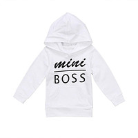 Casual Newborn Toddler Kids Boy Girls Long Sleeve Letter Print Hooded T-shirt Blusa Tee Tops Children Clothes 0-5Y