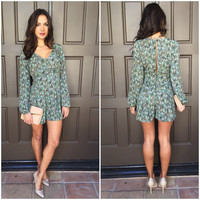 Leave in Paisley Romper - Mint