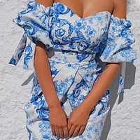 Hot new product wrapped chest one-shoulder short skirt sexy backless floral print four-way stretch dress blue