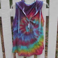 Extra Large Colorful Tie Dyed Sleeveless Swirl Hoodie