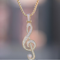 18K Layered Iced Lab Diamond Music Notes Charm Necklace