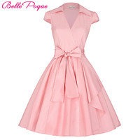 Belle Poque Women Summer Dresses 2017 Plus Size Clothing robe Vintage 50s 60s Pin up Big Swing Party Work Wear Rockabilly Dress