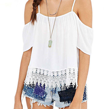 White Chiffon Straps Top With Crochet Lace Details