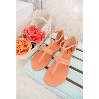 Best Choice Ankle Wrap Flat Sandals (Coral)