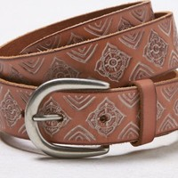 AEO Women's Floral Embossed Leather Belt (Natural)