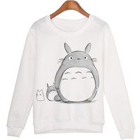 Casual 3D Sweatshirt Women Winter Clothing Cartoon Totoro Print Moleton Feminino Hoodies O-neck Pullover Tops WMH31