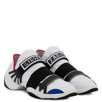 Giuseppe Zanotti Gz Jump R18 White And Blue Fabric Sneaker With Elastic Bands