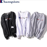 Champion Colored letter embroidered with velvet hoodie Top Sweater