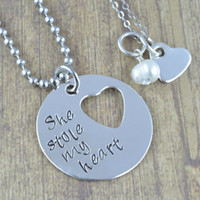 Sterling Silver His and Her Necklace Set, She Stole My Heart, Coules Jewelry, His and Her Jewelry by Miss Ashley Jewelry