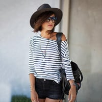 White and Black Striped One Shoulder T-Shirt