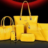 Luxury 6 Set Bags Handbag + Shoulder Bag + Tote + Wallet + Key Bag Patent Leather Design Bag for Women [9305728967]