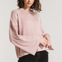 The Premium Fleece Flare Sleeve Pullover - Wood Rose