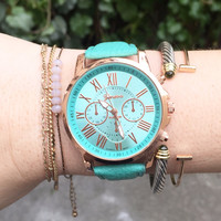 Turquoise Vegan Leather Watch