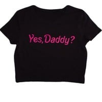 Women's Yes Daddy Crop Top - Black/Pink