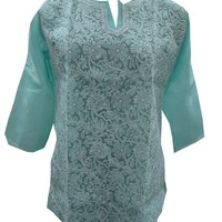 Boho Blouse Blue Tops Floral Embroidered Cotton Yoga Tunic Indian Kurta L: Amazon.ca: Clothing & Accessories