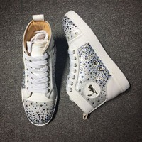 DCCK2 Cl Christian Louboutin Rhinestone Mid Strass Style #1914 Sneakers Fashion Shoes