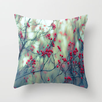 Winter Berries Throw Pillow by The Dreamery