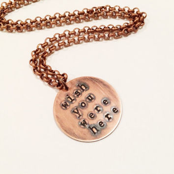 "Pink Floyd ""Wish You Were Here"" Necklace, Hand Stamped"