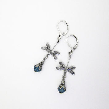 Blue Dragonfly Earrings - Lightweight Victorian Jewelry - Silver Plated
