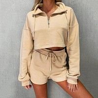 2020 new fashion BF style casual sports shorts suit romper pink zipper top