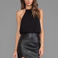 Black Asymmetrical Faux Leather Halter Blouson Pencil Bodycon Mini Dress