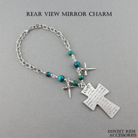 Serenity Prayer Rear View Mirror Cross & Wire Wrapped Stones - Sobriety Gift AA Recovery Gift Christian Gift Cross Car Charm
