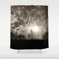 To The Moon Shower Curtain by Timothy Davis